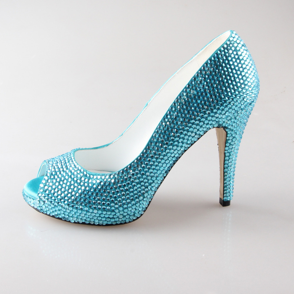 Handmade Aqua Blue Turquoise Full Rhinestone Shoes Bridal Wedding Party Prom Open Peep Toe Pumps