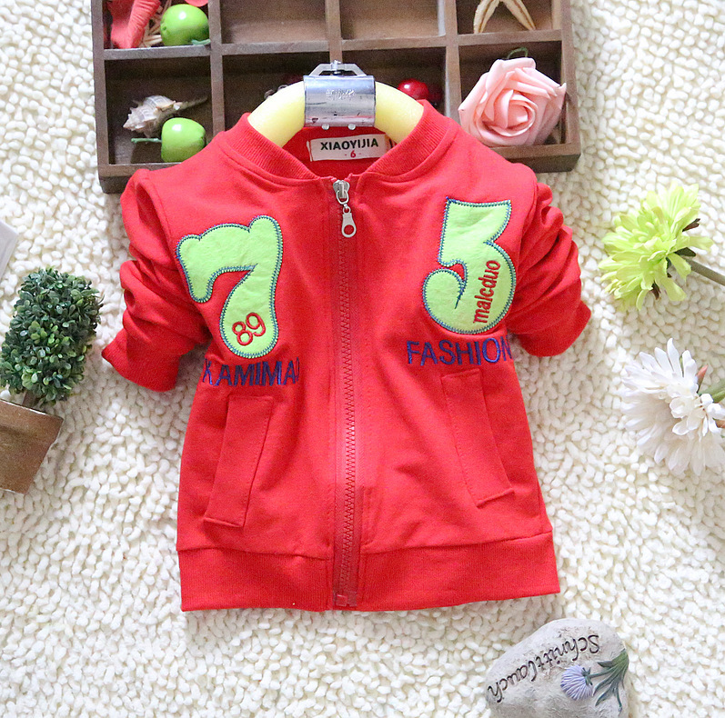 2015 Boy girl Coats Jackets Outwear zipper letters number 75 cardigan cotton terry kid clothing children clothes wear(China (Mainland))