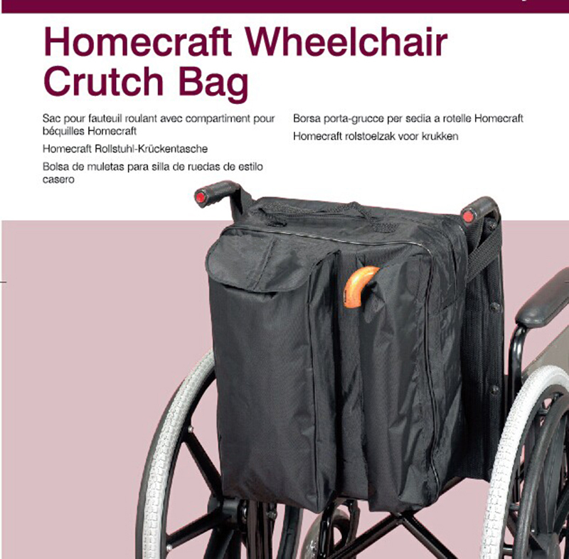 1x Long Slot Water Proof Wheelchair Crutch Bag Big Storage Soft ...