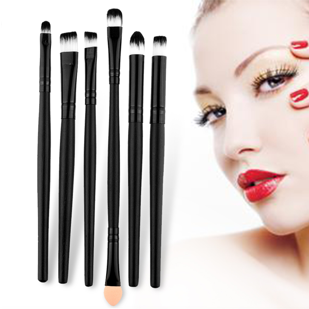 2016 Hot Sale New Portable Black 6Pcs Natural Wood Handle Powder Blush Makeup Brushes Set For Women Soft Easy To Use(China (Mainland))