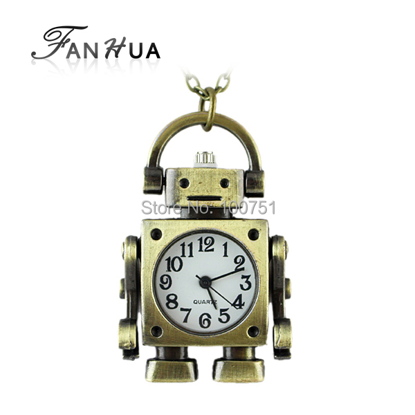 Vintage Style Designer Jewelry Lovely Fashion Robot Pocket Watch With Chain(China (Mainland))