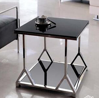 Stainless steel glass sofa small square table small tea for Small square couch