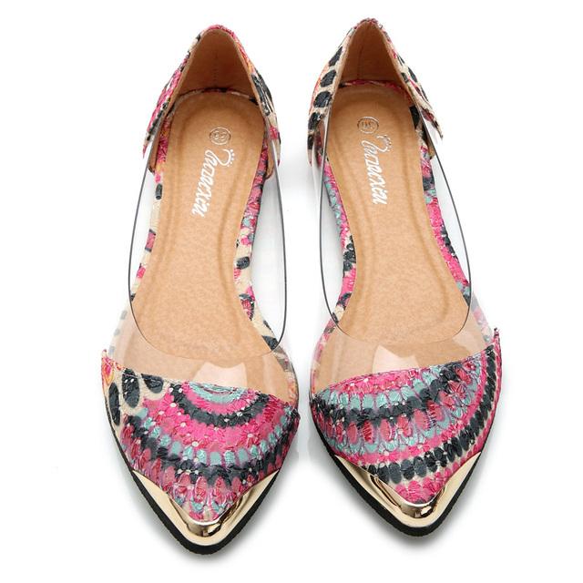 Квартир женщин мода летние сандалии обувь цветочный принт сандалии острым носом желе ...