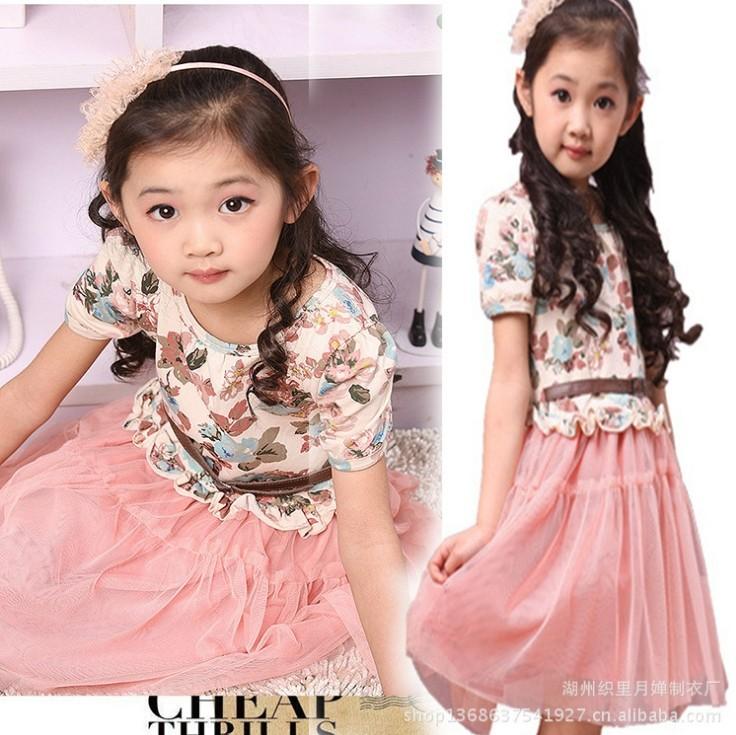 Fashion Kids girls spring summer new Korean children dress tutu princess veil clothing  -  Online Store 923589 store