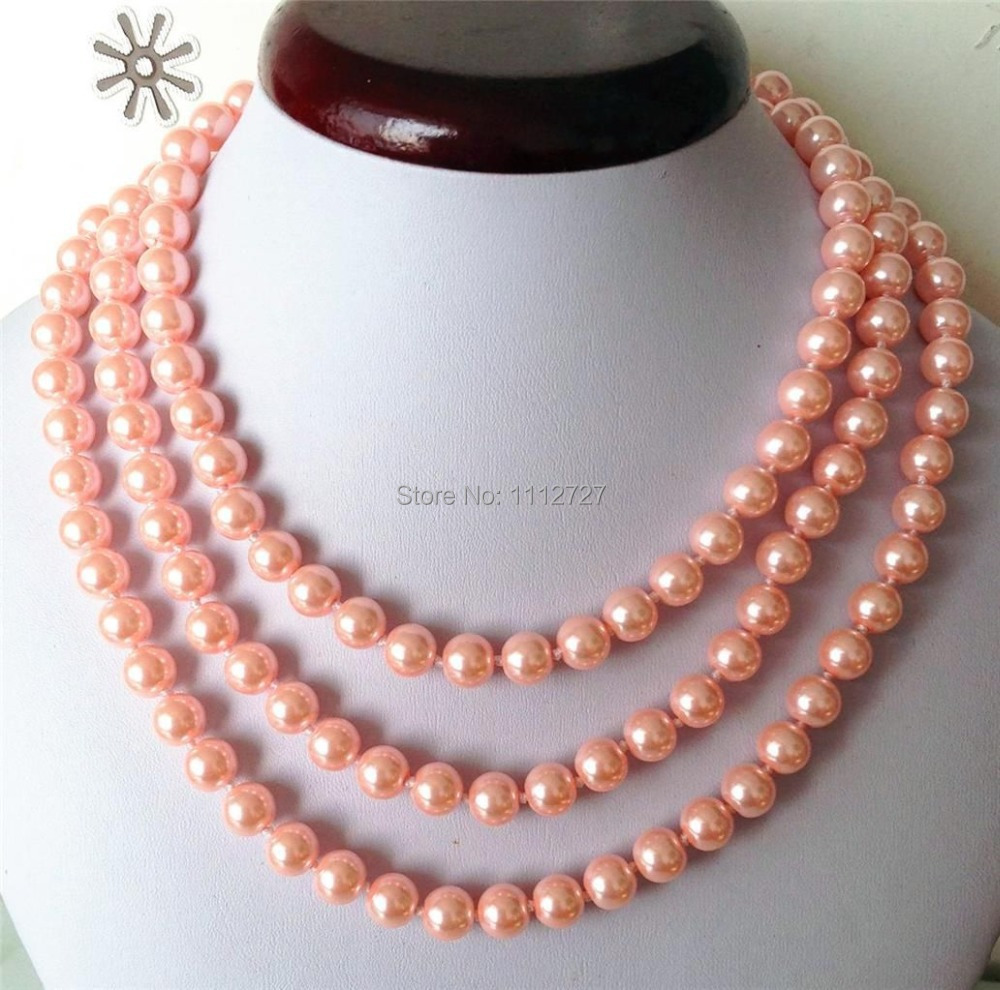 Fashion Jewellery 8mm Pink ocean shell pearls necklace Beads Natural Stone 50'' Wolesale Price(China (Mainland))