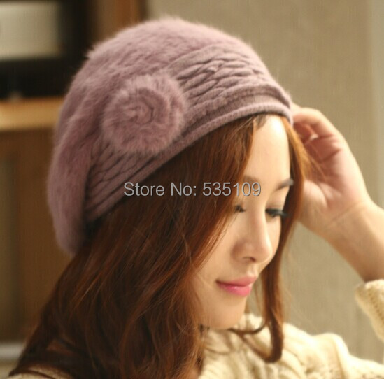 1pcs,Russia Europe Popular Folding Beanie Winter Hat Fashionable Women Knitting Wool Caps 6 Colors Rabbit Fur - Mlcren benz's store