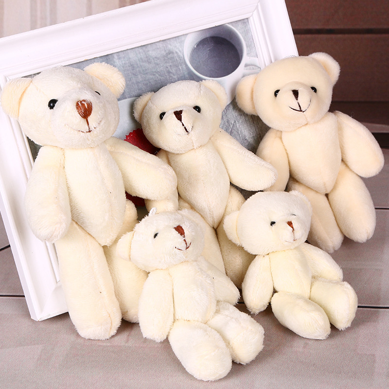 5 12CM white jointed mini teddy bear small /cartoon bouquet toy/wedding gifts - Alisa's Plush Toy Store store