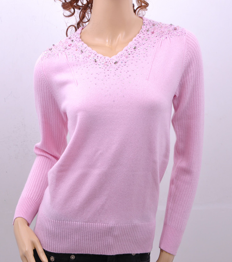 100% pure goat cashmere middle-aged women pullovers diamond flowers V-neck sweaters S-XXXL $77 or 2/$138.6 free shipping