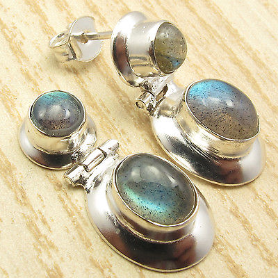 Silver Plated Blue Fire LABRADORITE Gem HINGE Stud Post Earrings 1 inches(China (Mainland))