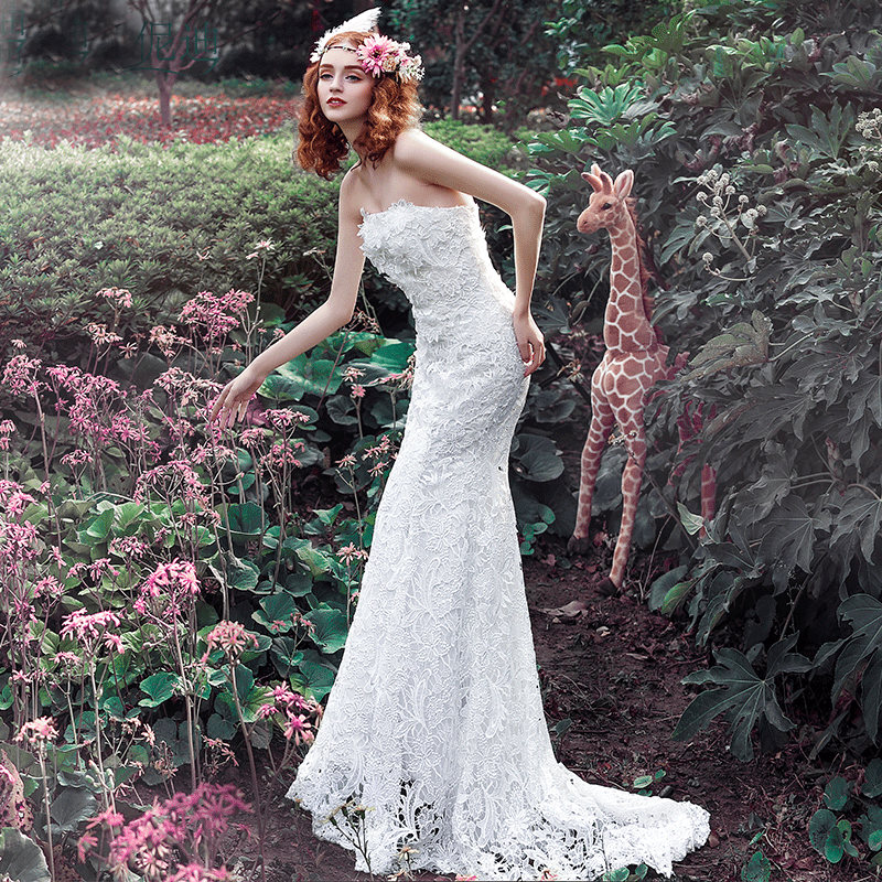 Vestido De Noiva 2017 Luxury Lace Tube Top Slim Short Trailing Plus Size Mermaid Wedding Dresses Bridal Gowns(China (Mainland))
