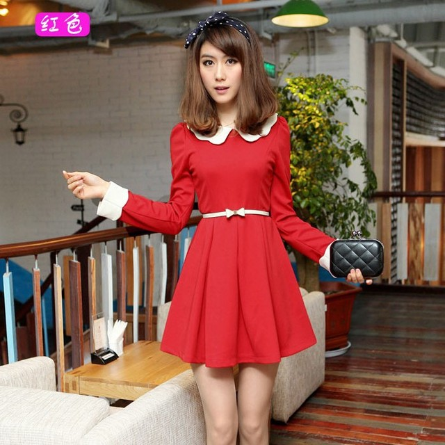 Free shipping 2013 new fashion women's lace sweet color block long-sleeve plus size one-piece dress 0220251286