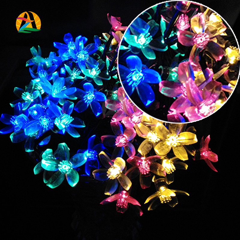 Holiday Lighting Solar Powered 4.8M 20 Leds Outdoor Cherry Blossoms Christmas String Lights Garden Light Jardin Luce solare(China (Mainland))