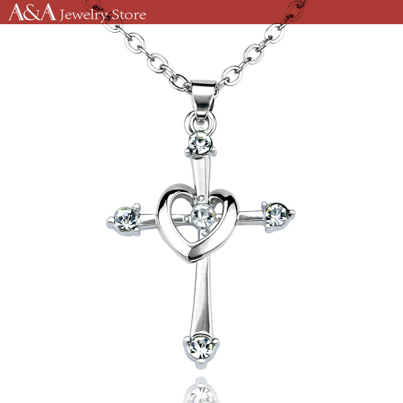 Cross Necklaces Heart Circle Pendants 5 Brilliant Crystal On Necklaces Exquisite Women Necklaces Brand A A