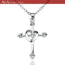Cross Necklaces Heart Circle Pendants 5 Brilliant Crystal On Necklaces Exquisite Women Necklaces Brand A&A Jewelry