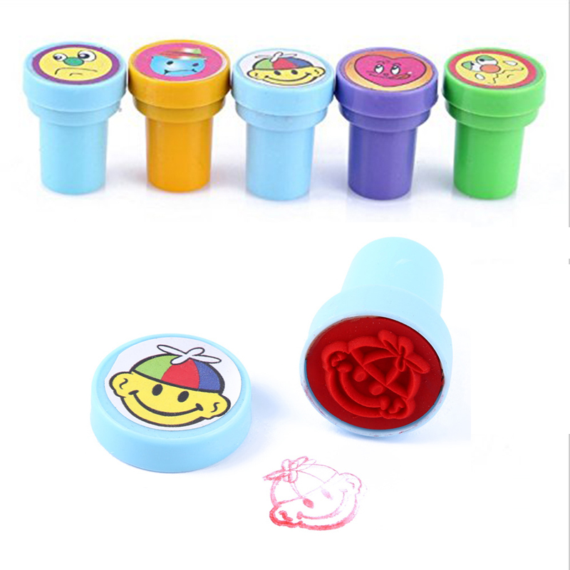 10pcs/set Multicolor Cute Cartoon Smile face Rubber stamps set Plastic Rubber Self Inking Stampers Toys Gifts for kids(China (Mainland))