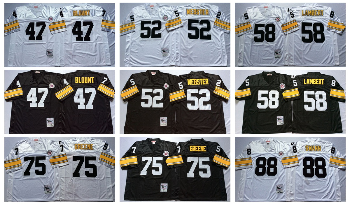 Pittsburgh Steeler mel blount Mike Webster Jack Lambert Joe Greene lynn swann Throwback for mens(China (Mainland))