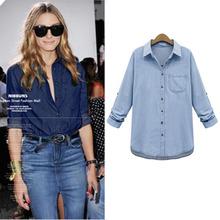 2017 Spring Plus Size 5XL Women Denim blouses blusa Jeans Shirts Feminina Female Cowboy long sleeve Casual Vintage ropa mujer(China (Mainland))