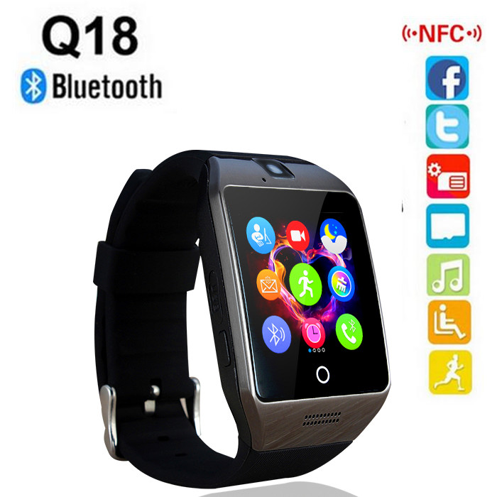 2016 new NFC Smart Watch Q18S Arc Clock With Sim TF Card Bluetooth Connection for iphone Android Phone Smartwatch PK GV18 APRO(China (Mainland))