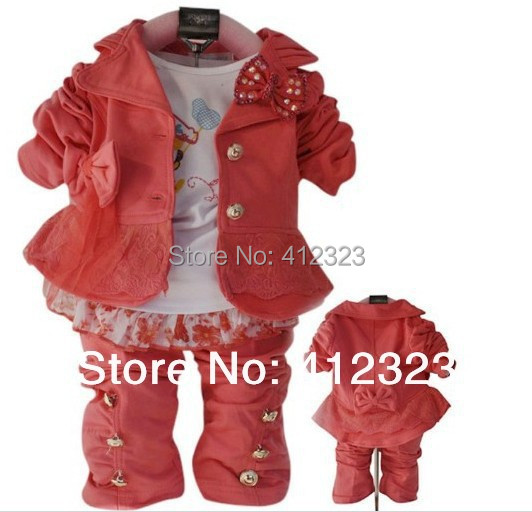 2015 new girls kids clothes set baby 3 pcs suit clothing for spring autumn long sleeve coat shirt pant children wear(China (Mainland))