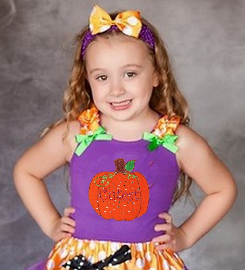Halloween Girl Clothing Rhinestone Cutest Pumpkin In The Patch WIth Purple Tank Top Pettitop 1-10Y(Hong Kong)
