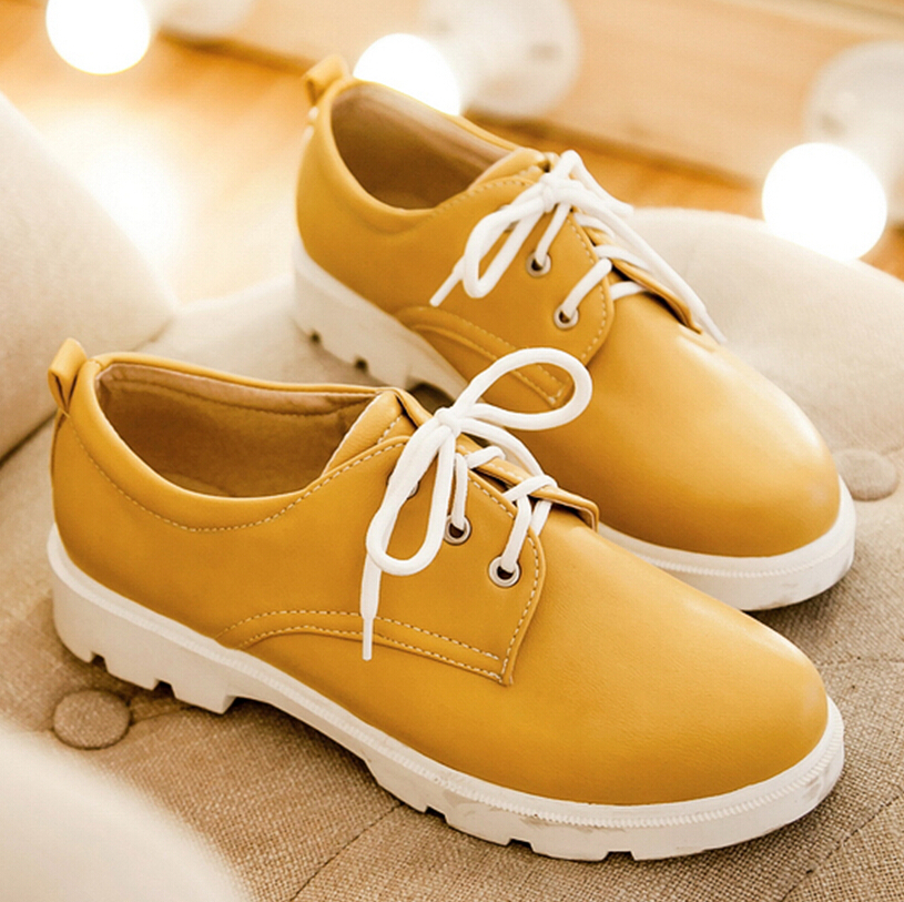 ENMAYER solid lace-up basic womens flats round toe seven colors large size:34-43 Casual shoes flats simple style Platform flats<br><br>Aliexpress