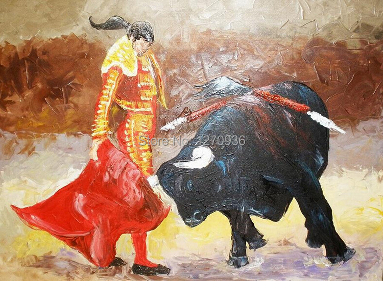 Dafen Oil Painting Village Big Wholesale Facotry Price Old Mastered Artists Handmade Oil Painting, Matador and Bull Painting(China (Mainland))