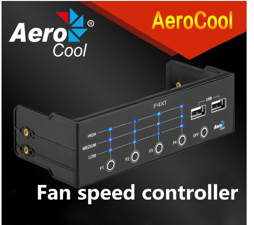 Aerocool F4XT fan speed controller case monitor chassis three sections of wind speed control With USB2.0 Port Fan Control Panel <br><br>Aliexpress