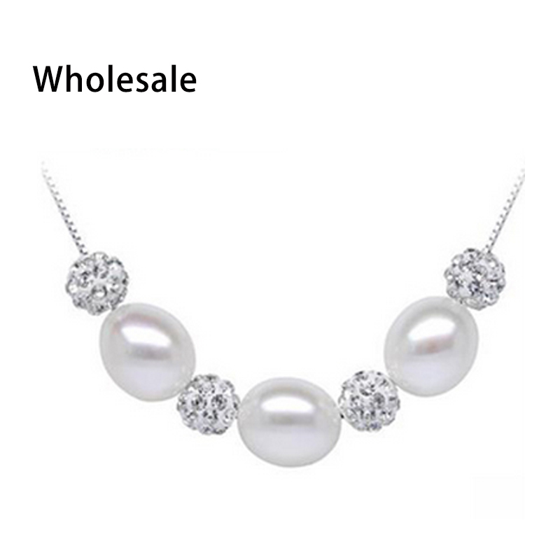 100% real 925 sterling silver box chain jewelry with freshwater pearl necklace for women 8-9mm AAAA natural pearl 3 color design(China (Mainland))