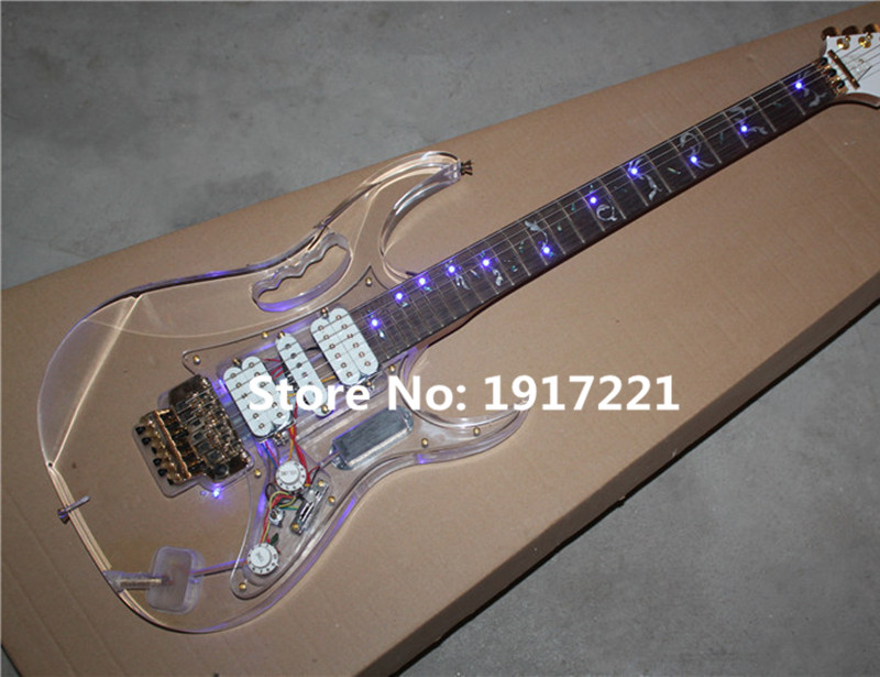 Acylic Glass Electric Guitar with Floyd Rose,Gold Hardwares,Tree of Life Fret Marks Inlay,Lights on Fretboard,Can be Changed(China (Mainland))
