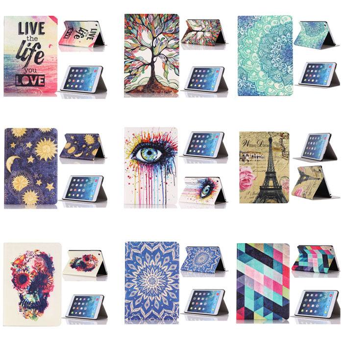 2015 New Floral Tree Love Colored Eye Print Flip Stand Leather Case Cover For iPad Mini 1 2 3 Retina Case Cover Free Shipping(China (Mainland))