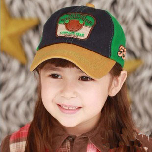 Spring and summer bear cotton baseball cap child hat baby dome hat brim cap c23