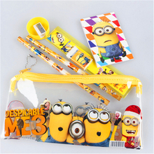 Cute Kawaii Cartoon Minions Stationery Set For Kids Students Gift School Supplies Korean Stationery Free Shipping 1301(China (Mainland))