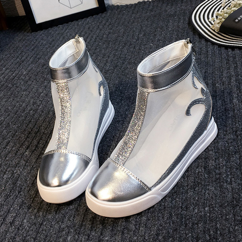 Summer Women Ankle Boots 2016 Mesh Gladiator Sandals Platform Wedges Shoes Woman Zipper Flats Casual Women Shoes(China (Mainland))