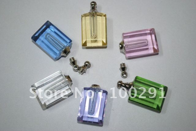 Free shipping!!!Mixed color   Rectangular Pendant & Strap *perfume bottle Name on rice vials pendants