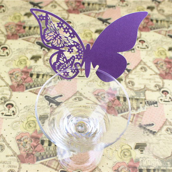Best 50 Pcs Butterfly Place Escort Wedding Party Wine Glass Paper Card Purple OD#S(China (Mainland))