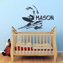 Buy T07036 Boys Custom Name Decal Beach Wall Sticker Vinyl Surfer Wall Decal Surfing Decals Kids Wall Stickers Kids Rooms Decor for $10.44 in AliExpress store