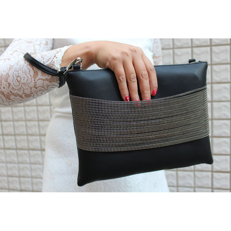 2015 Quality 100 Evening Clutch Bag Women Handbag Black Leather Chain Bag over the shoulder klatch