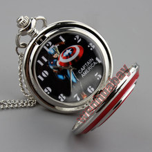 Captain America Icon Quartz Pocket Watch with Pendant Necklace Chain for Men Women Xmas Gifts P264