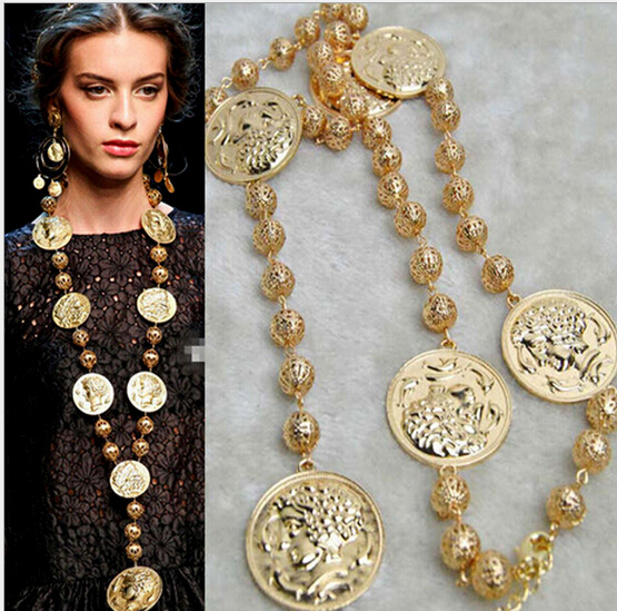 Wholesale!! ashion baroque women's necklace metal vintage portrait coin chunky necklace gold beads chain long necklace 1pcs/lot(China (Mainland))