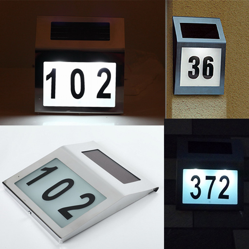 2 LED Solar Lamp Doorplate Lamp Stainless Steel Outdoor House Number Apartment Number Light<br><br>Aliexpress