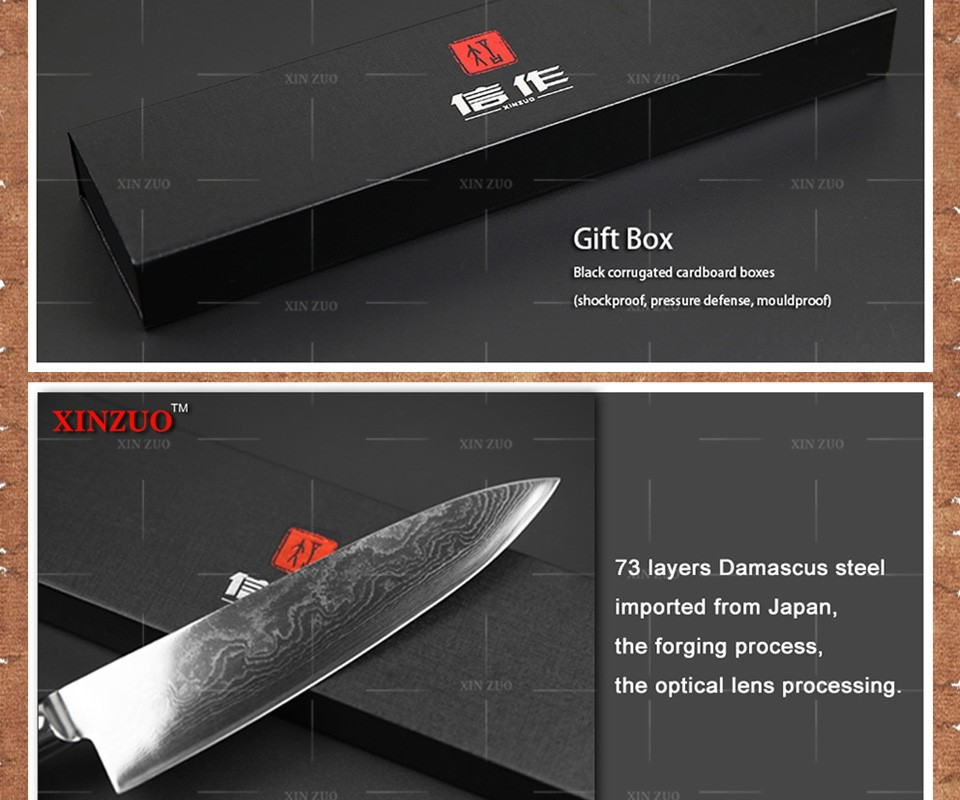 Buy 2 pieces kitchen knife set Japanese 73 layers Damascus steel kitchen knife chef  paring cleaver knife wood handle free shipping cheap