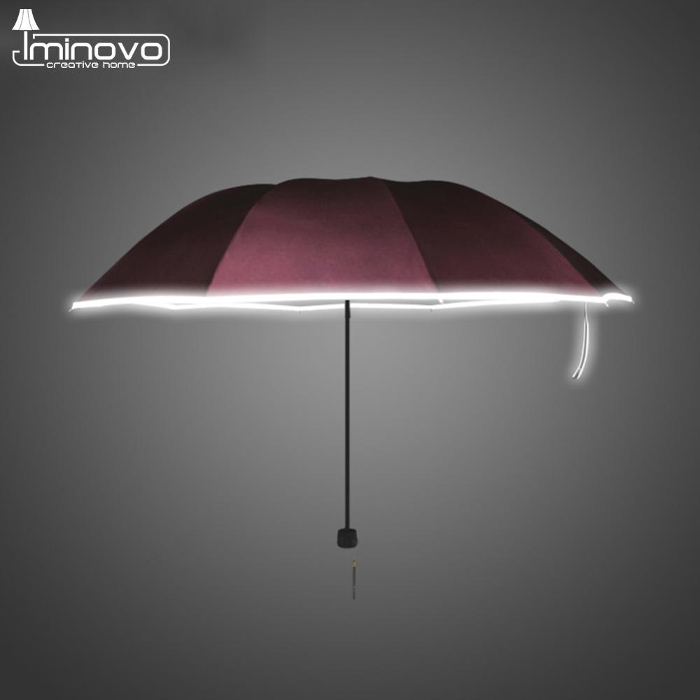 IMINOVO Female Lady Windproof Umbrellas Safety Reflective Stripe Burgundy 3 Folding Fashion Super Light Umbrella(China (Mainland))