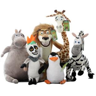 new arrival free shipping 20-35cm Movie Madagascar cartoon animals one lot / 6 pieces plush toys,birthday gift b9980<br><br>Aliexpress