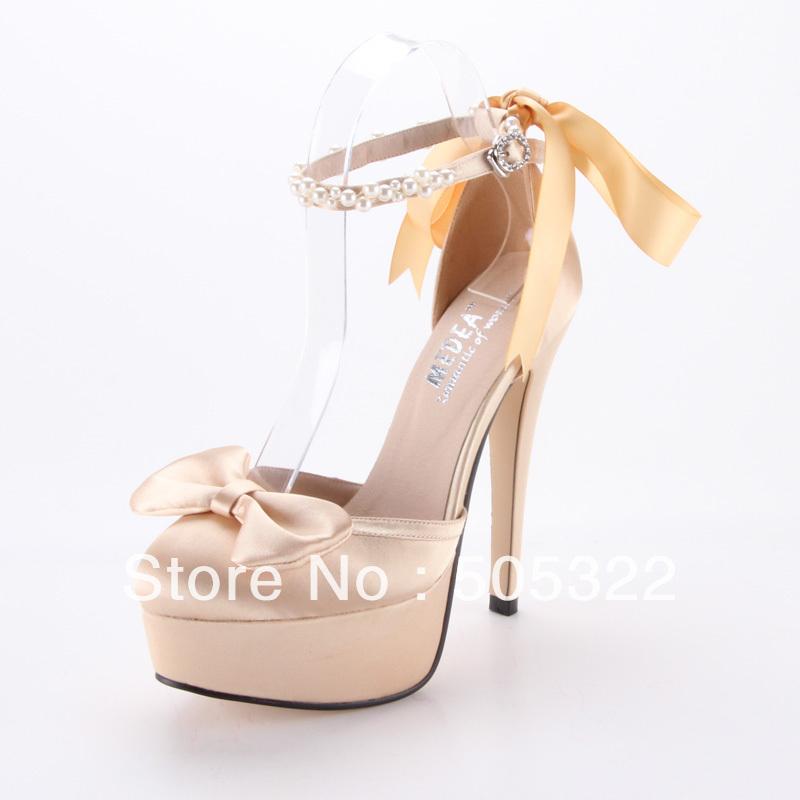 BWJ020 Free Shipping Custom Made Fashion High Heel Pumps Bridal Shoes Champagne Platform Wedding