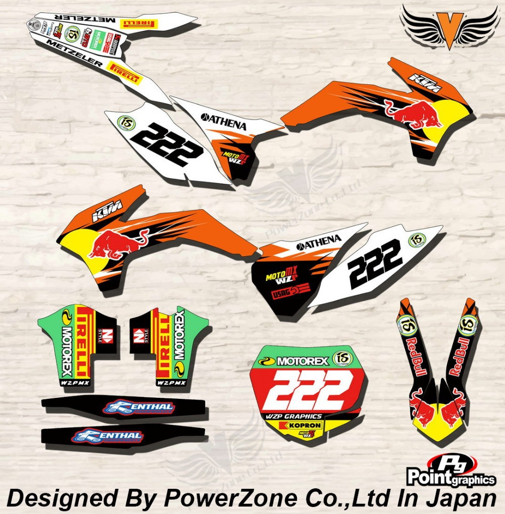 Top Quality Team Graphics & Backgrounds Decals 3M Stickers Red B Kits For KTM SX SXF EXC 125 250 450 525 1998-2014 Free Shpping