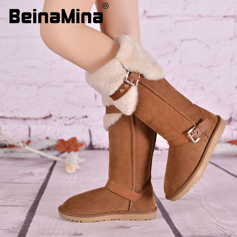 women real genuine leather flat over knee boots winter cotton snow warm long boot buckle brand footwear shoes R8214 size 34-39<br><br>Aliexpress