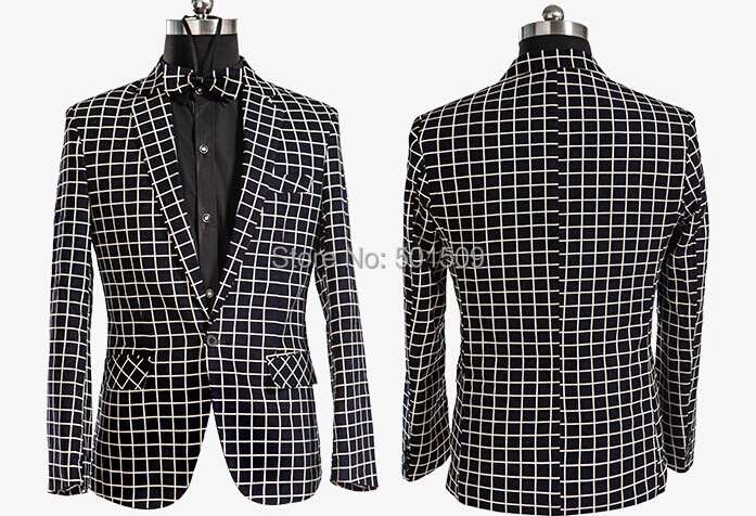 Free ship mens check pattern tuxedo suit/stage performance(China (Mainland))