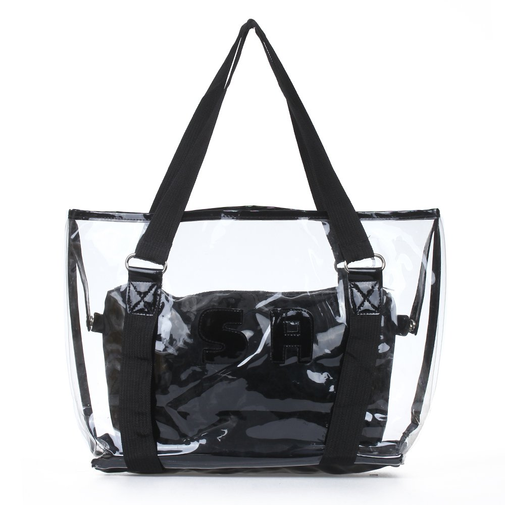 IMC Hot Set 2PCS Women's Handbag Tote Shoulder Bag Transparent PVC Black(China (Mainland))