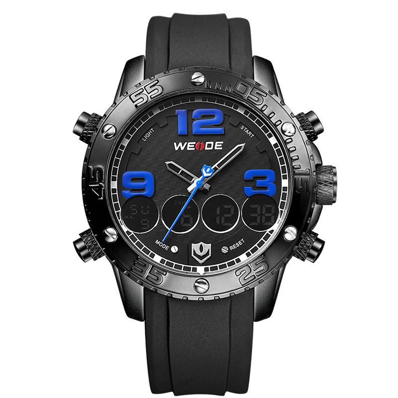 New WEIDE Original Men Sports Watches Luxury Brand PU Strap Big Dial Watch Analog Digital Men's Wristwatch relogio masculino(China (Mainland))