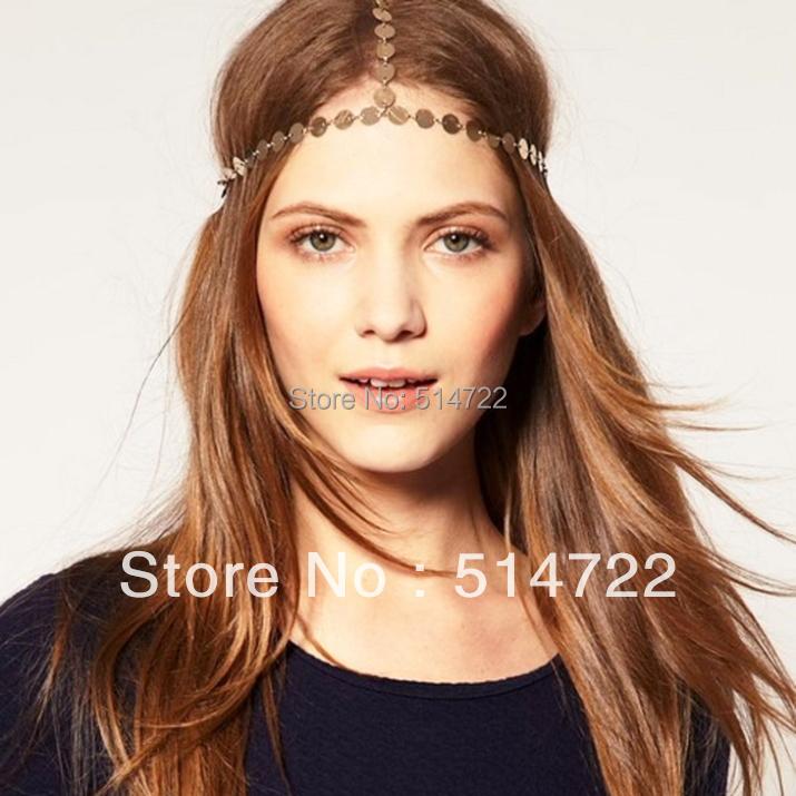1pcs Gold Head Chain Headpiece Forehead Hair Band Grecian Boho Accessories 2014 new(China (Mainland))
